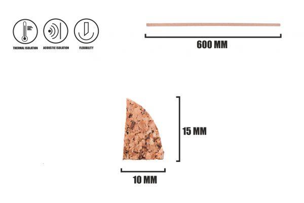 Korková dokončovací lišta kvadrant LP-3
