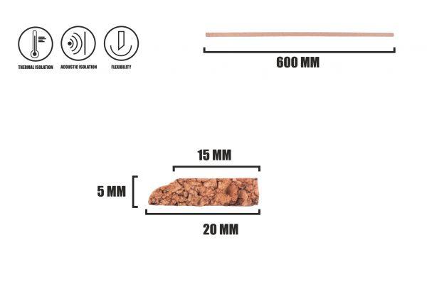 Korková lišta horizontálního profilu LB-2