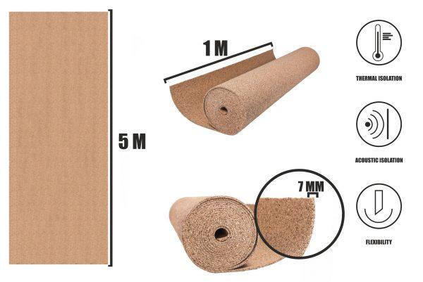 Korek v rolích 7mm (5m)
