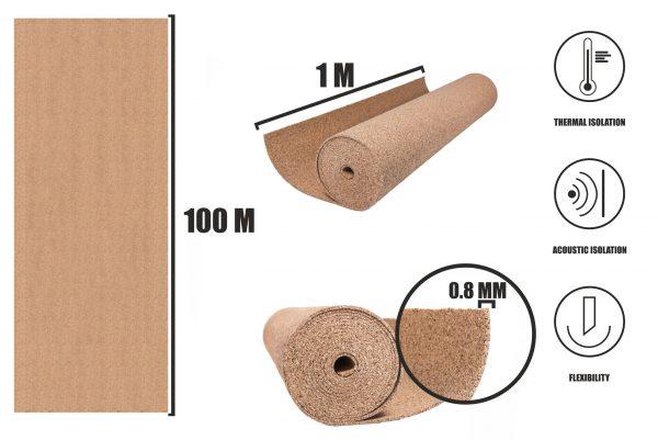 Korek v rolích 0,8mm (100m)