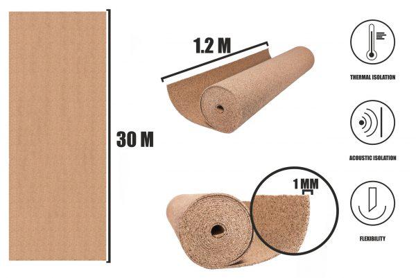 Korek v rolích 1mm (30x1,2m)